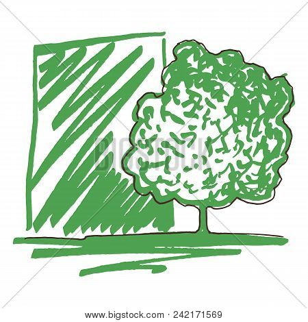 Monochrome Green Tree Silhouette Line Art Sketch Isolated Vector