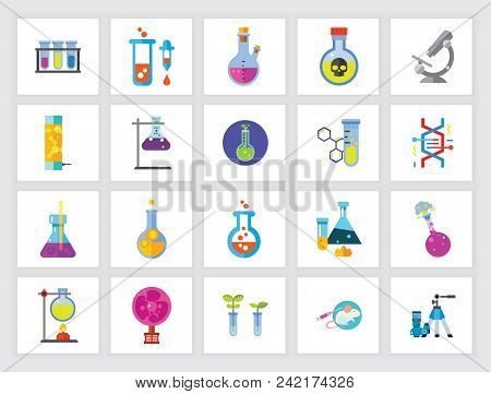Biotechnology and biochemistry concept. Flat icon set. Chemical, research, laboratory. Can be used for topics like chemistry, science, biology poster