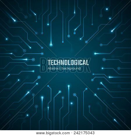 Technological Background. Blue Circuit Board Concept. Circuit Scheme Texture. Digital Technology Bac