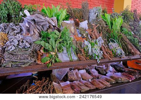 Alternative Medicine Fresh Herbs And Ingredients At Farmers Market In Villarrica, Paraguay, South Am
