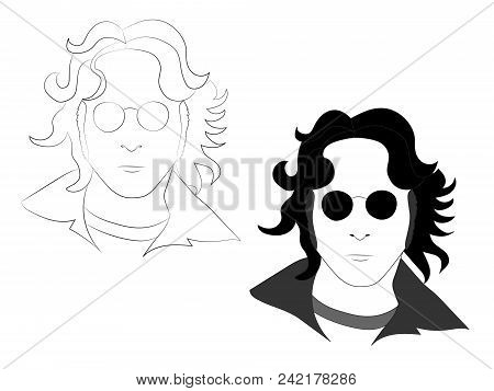 May 25 2018: The Outline And Black White Illustration Of John Lennon In Glasses, Eps 8, Editorial Us