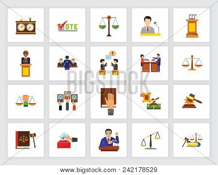 Legal System Concept. Flat Icon Set. Courthouse, Auction, Election Campaign. Can Be Used For Topics