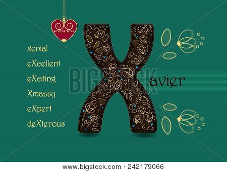 Name Day Card For Xavier. Artistic Brown Letter X With Golden Floral Decor. Vintage Red Heart With C