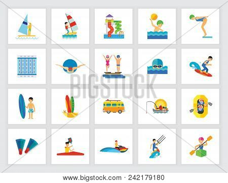 Swimming Activity Concept. Flat Icon Set. Swimming Pool, Water Park, Water Sport. Can Be Used For To