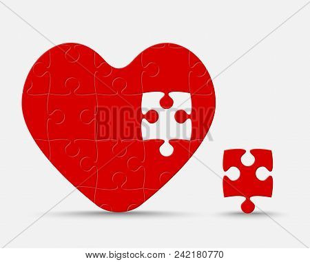One Red Piece Puzzle Heart. Icon Vector Puzzle Illustration Isolated On White Background. Jigsaw Log