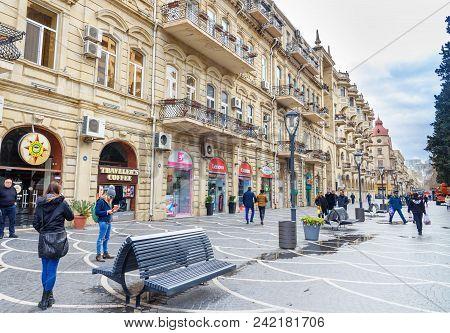 People Walk In Nizami Street In Ceter Of City Baku. Azerbaijan