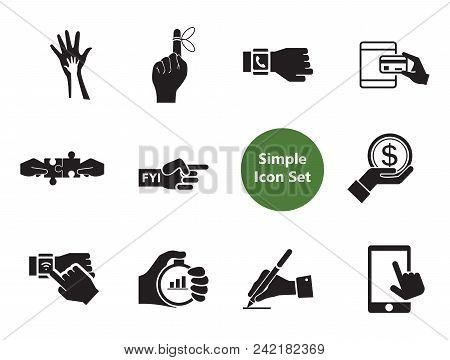Hands Simple Icons Set With Handshake, Helping Hands And Reminder Hand. Thirteen Vector Icons