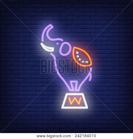 Circus Elephant Neon Icon. Trained Animal On Stand On Dark Brick Wall Background. Night Bright Adver