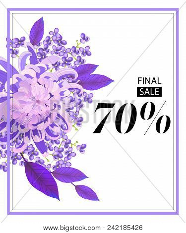 Final Sale, Seventy Percent Flyer Design With Flower, Lilac And Frame. Text Can Be Used For Coupons,