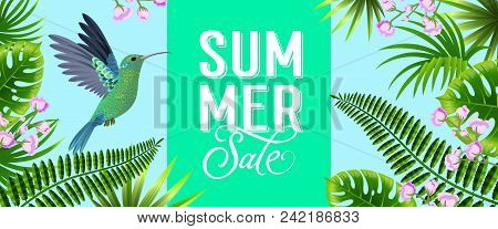 Summer Sale Bright Banner Design With Tropical Leaves, Lilac Flowers And Hummingbird. Text Can Be Us
