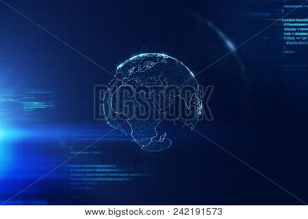 Worldwide Global Business Conceptual Background, Abstract Earth World Map On Dark Blue Background, I