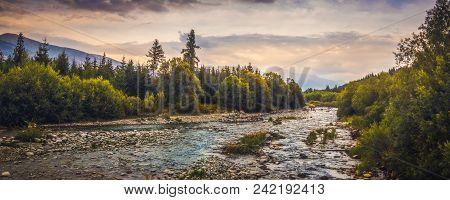 Bela River With Krivan Peak In Background In Slovakia