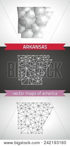 Arkansas Set Of Grey And Silver Mosaic 3d Polygonal Maps. Graphic Vector Triangle Geometry Outline S
