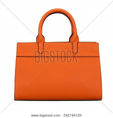 Fashionable Light Orange Classic Women's Handbag Of Solid Leather With Embossed Stripes Front View I