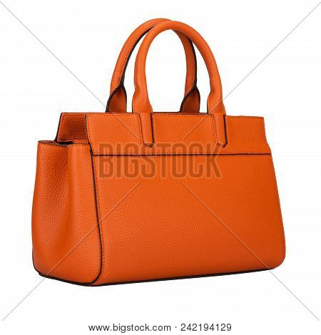 Fashionable Light Orange Classic Women's Handbag Of Solid Leather With Embossed Stripes Side View Is