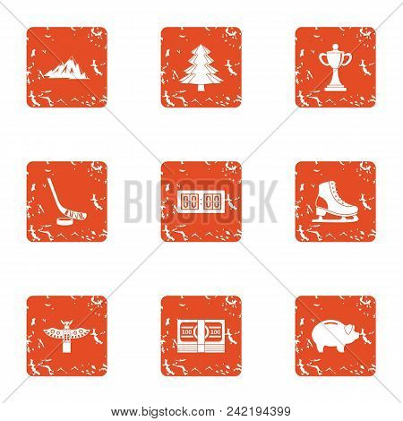 Athletic Currency Icons Set. Grunge Set Of 9 Athletic Currency Vector Icons For Web Isolated On Whit