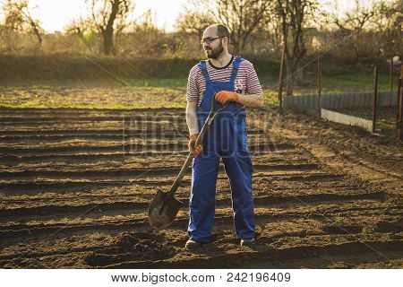 Portrait Of A Smiling Man Gardening In His Garden, On A Lovely Spring Day Color Toned Image . The Ga