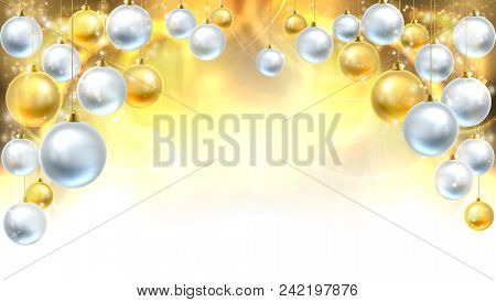 Gold And Silver Abstract Christmas Bauble Decoration Header Background. Fades To White At The Bottom