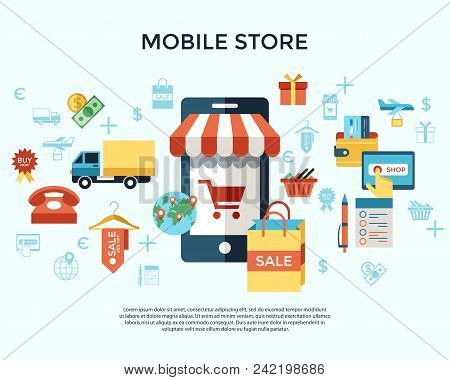 Printdigital Vector Line Icons Set Mobile Shopping
