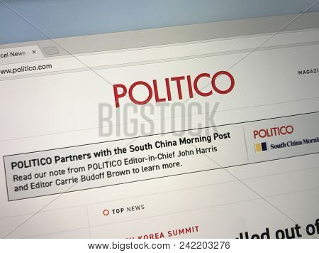 Amsterdam, Netherlands - May 25 2018: Website Of  Politico, An American Political Journalism Company