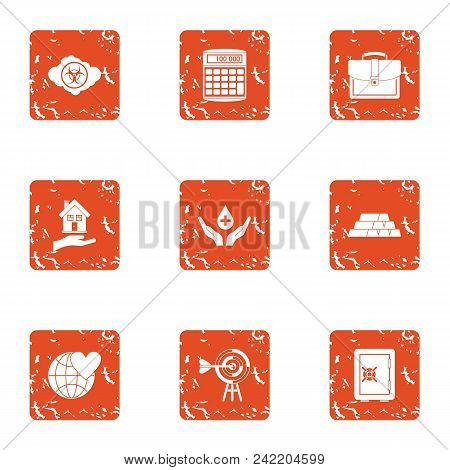 Terra Icons Set. Grunge Set Of 9 Terra Vector Icons For Web Isolated On White Background