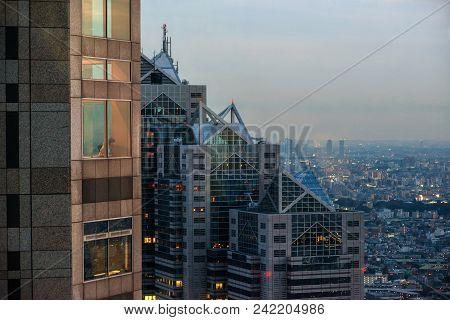 Tokyo, Japan - November 17: Tourist Watch Shinjuku Skyline With Park Hyatt Hotel Skyscraper From Tok