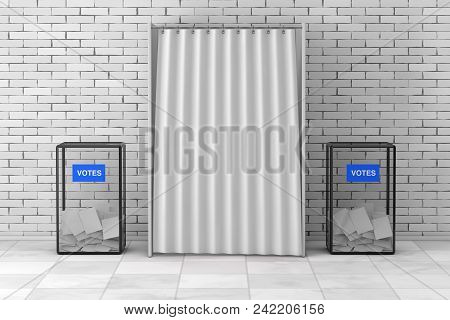 Ballot Boxes Near White Voting Booth With Curtain And Blank Space In Front Of Brick Wall. 3d Renderi