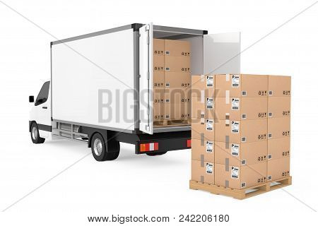 Prepare Shipping Concept. White Commercial Industrial Cargo Delivery Van Truck Near Stack Of Cardboa