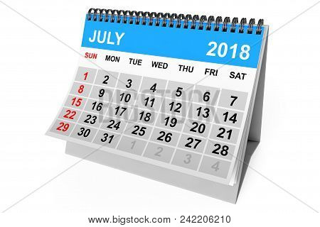 2018 Year Calendar. July Calendar On A White Background. 3d Rendering