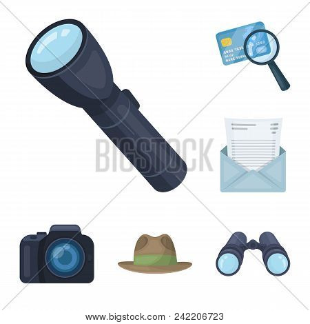 Detective And Attributes Cartoon Icons In Set Collection For Design.detective Agency Vector Symbol S