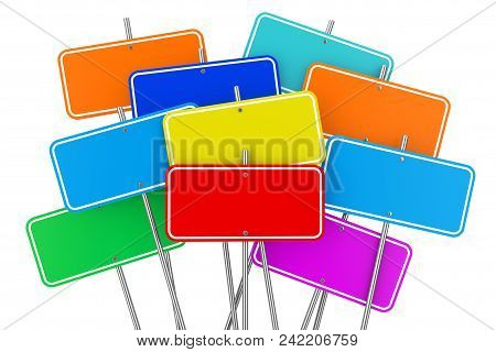 Collection Of Many Colorful Blank Signposts On A White Background. 3d Rendering