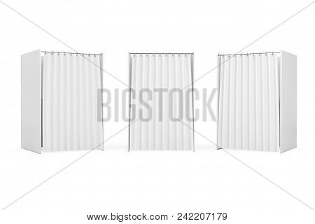 White Voting Booth With Curtain And Blank Space On A White Background. 3d Rendering
