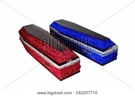 Two Closed Wooden Coffins Isolated On White Background