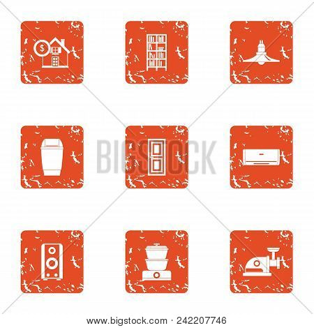 Cash Building Icons Set. Grunge Set Of 9 Cash Building Vector Icons For Web Isolated On White Backgr