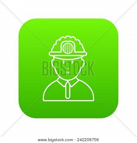 Miner Icon Green Vector Isolated On White Background