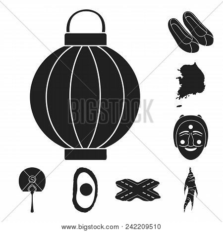 Country South Korea Black Icons In Set Collection For Design.travel And Attraction Vector Symbol Sto