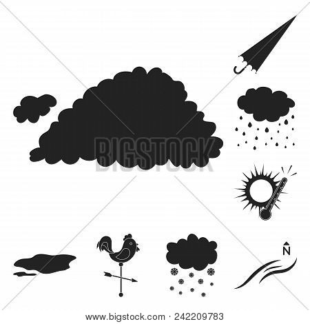 Different Weather Black Icons In Set Collection For Design.signs And Characteristics Of The Weather