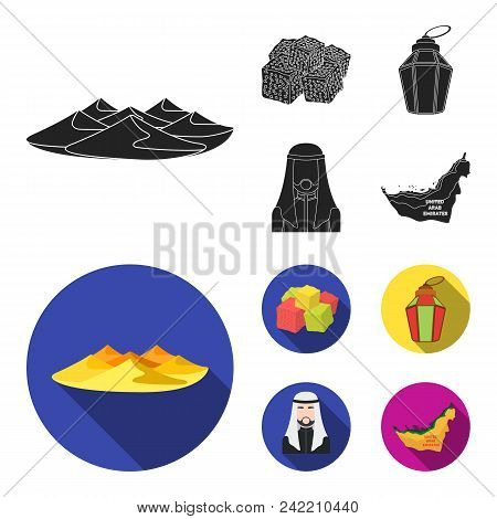 Eastern Sweets, Ramadan Lamp, Arab Sheikh, Territory.arab Emirates Set Collection Icons In Black, Fl