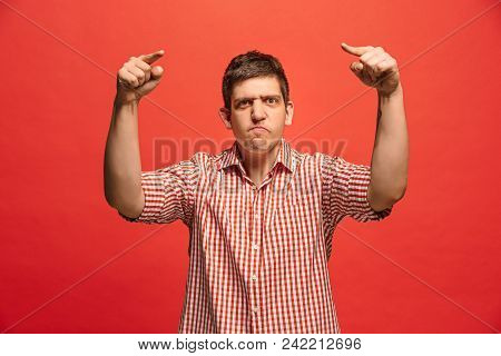 Screaming, Hate, Rage. Crying Emotional Angry Man Screaming On Red Studio Background. Emotional, You