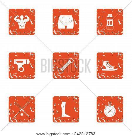 Physical Preparation Icons Set. Grunge Set Of 9 Physical Preparation Vector Icons For Web Isolated O