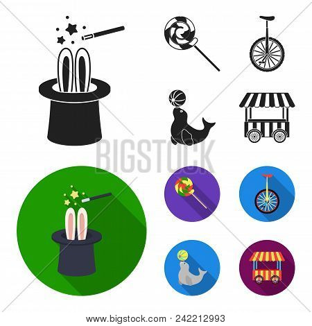 Lollipop, Trained Seal, Snack On Wheels, Monocycle.circus Set Collection Icons In Black, Flat Style