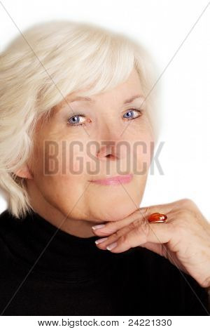 Senior lady with make-up on white background