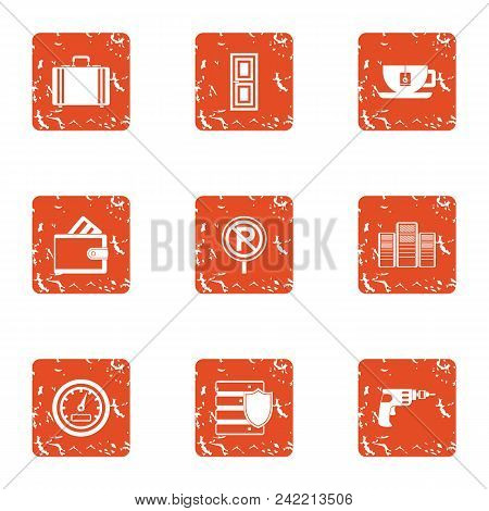 Buy Parking Space Icons Set. Grunge Set Of 9 Buy Parking Space Vector Icons For Web Isolated On Whit