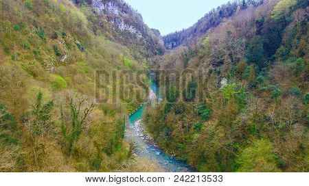 Drone View Of Canyon, Mountains And Khosta River In Yew And Box-tree Grove In Spring Day, Sochi, Rus