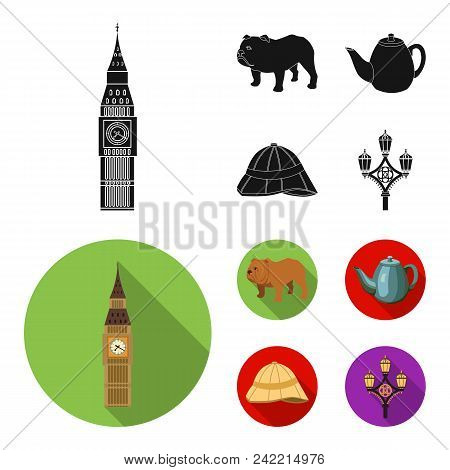 Breed Dog, Teapot, Brewer .england Country Set Collection Icons In Black, Flat Style Vector Symbol S