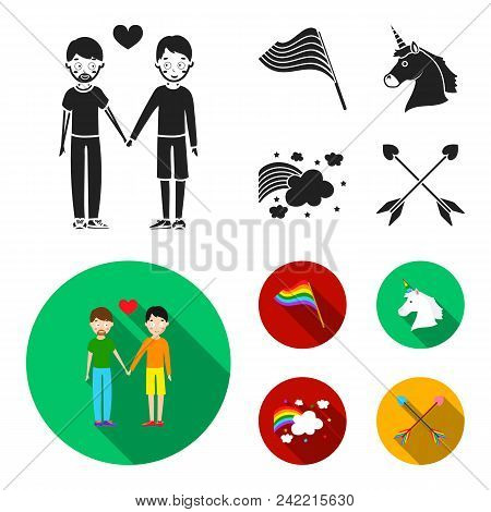 Flag, Unicorn Symbol, Arrows With Heart.gay Set Collection Icons In Black, Flat Style Vector Symbol
