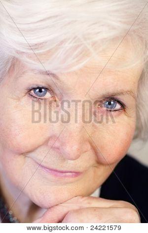 Beautiful senior woman face, closeup