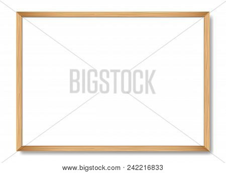 Blank Picture Frame Template. Realistic Wooden Frame With Shadow On White For Photo Or Poster. Horiz