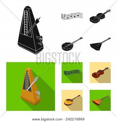 Musical Instrument Black, Flat Icons In Set Collection For Design. String And Wind Instrument Isomet