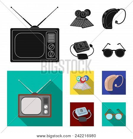 Lottery, Hearing Aid, Tonometer, Glasses.old Age Set Collection Icons In Black, Flat Style Vector Sy